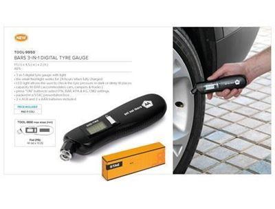 Stac 3-In-1 Tyre Gauge, Bars 3-In-1 Digital Tyre Gauge, TOOL-9950