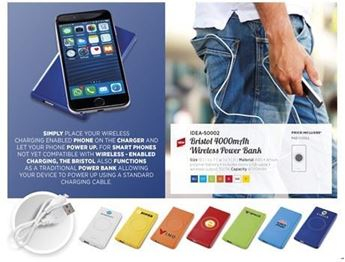 Bristol Wireless Charger & 4000mAh Powerbank, IDEA-50002