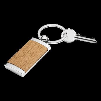 Wooden Keychain With Metal Trim, BK8771