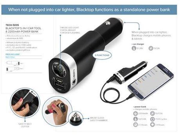 Blacktop 5-In-1 Car Tool & 2200mAh Power Bank, TECH-5035