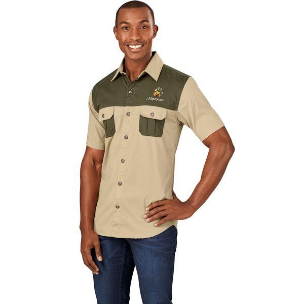 Mens Short Sleeve Serengeti 2-Tone Bush Shirt, ALT-SGMS